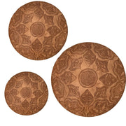 Set of 3 Original Camel Leather poufs