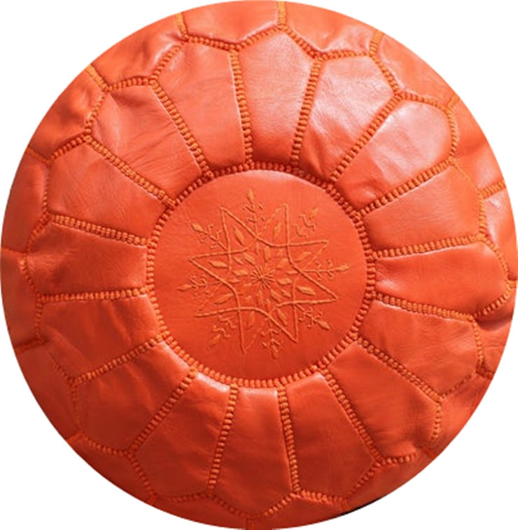 ORANGE  LEATHER POUF