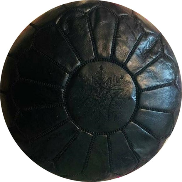 ALL-BLACK  LEATHER POUF
