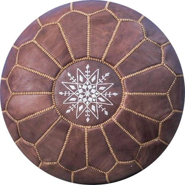 COCOA-BROWN LEATHER POUF