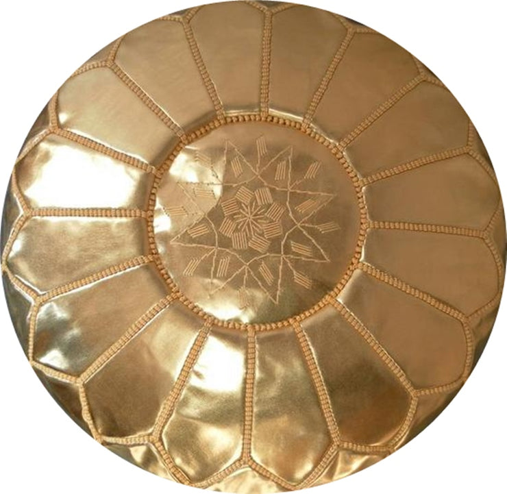 GOLD FAUX-LEATHER POUF