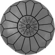 GREY-EMBROIDERED LEATHER POUF