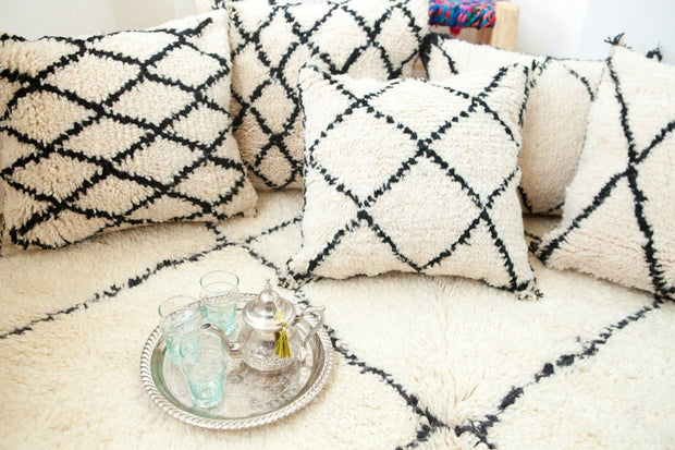 Large Beni Ourain White Cushion Cover - 100% Wool Moroccan Pillow