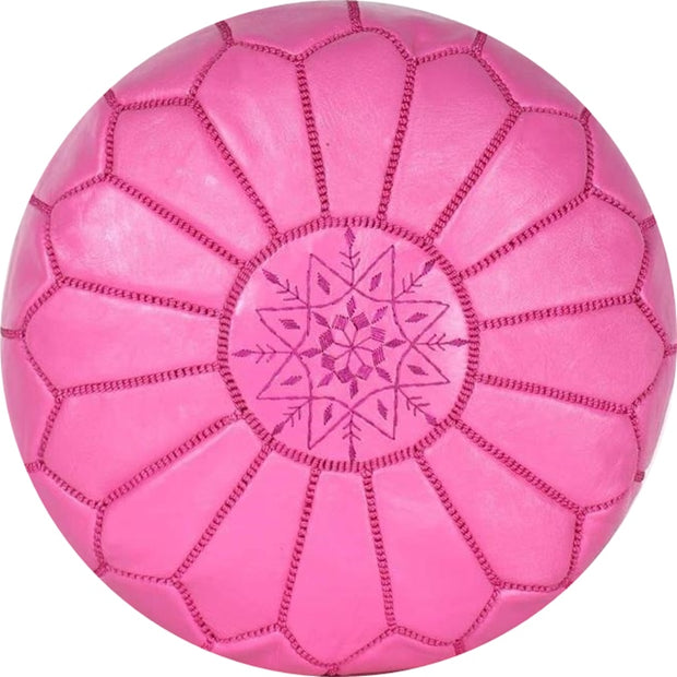 BABY-PINK  LEATHER POUF