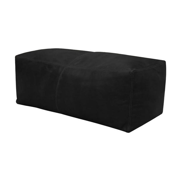 BLACK LARGE SQUARE LEATHER POUF