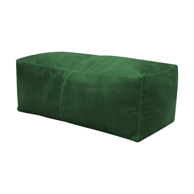 Green LARGE SQUARE LEATHER POUF