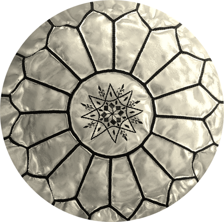 SILVER FAUX-LEATHER POUF