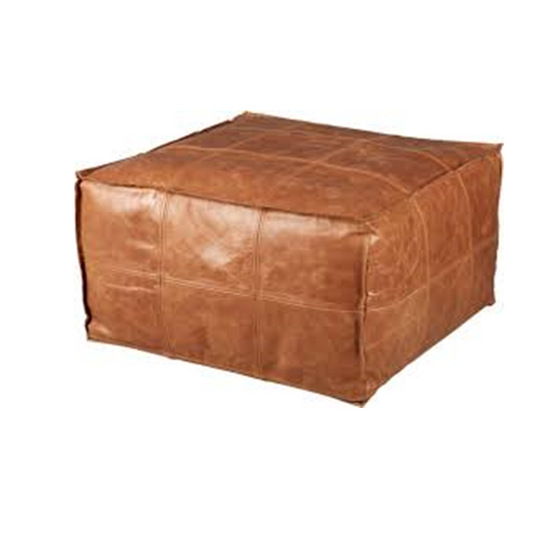 Divided Square Leather Pouf