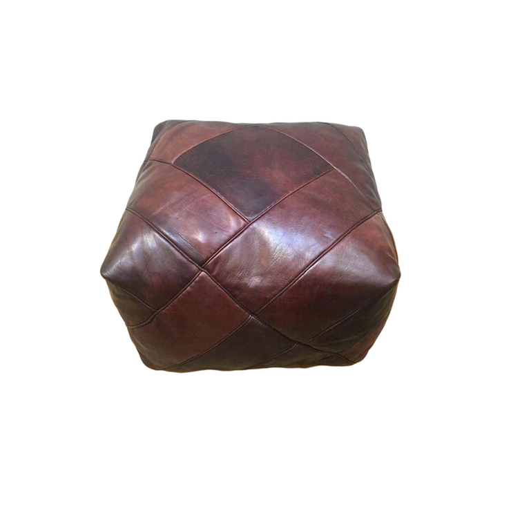 Random Square Leather Pouf
