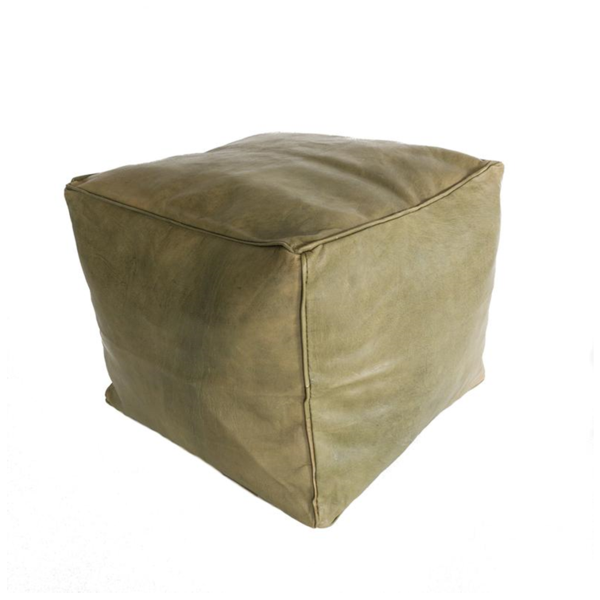 Small Square Leather Poufs