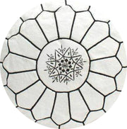 WHITE-EMBROIDERED  LEATHER POUF