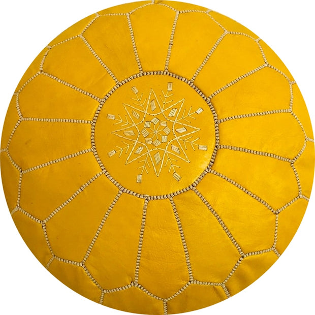 Mustard  LEATHER POUF