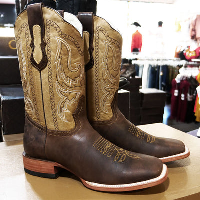 full grain cowboy boots brown