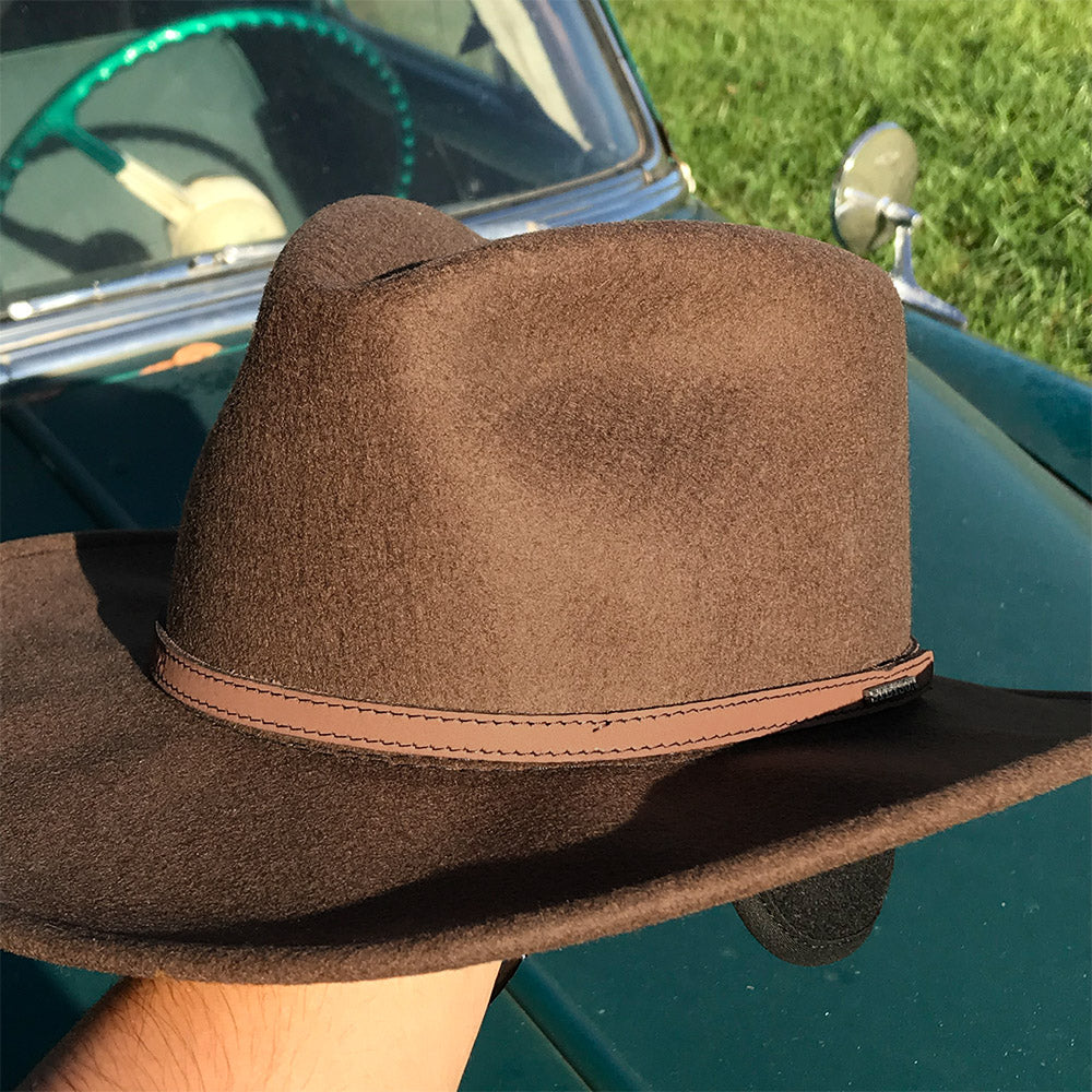 brown crushable wool hat