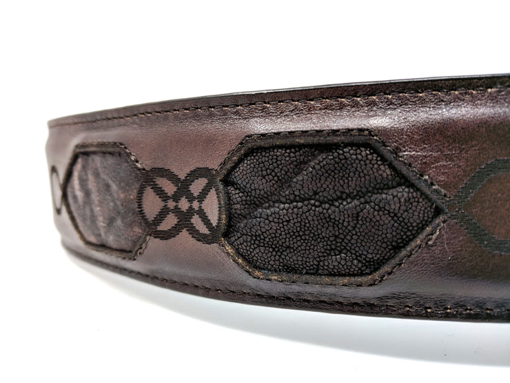 elephant leather belt chocolate brown