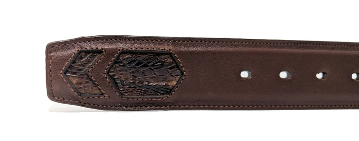 brown aligator belt caiman