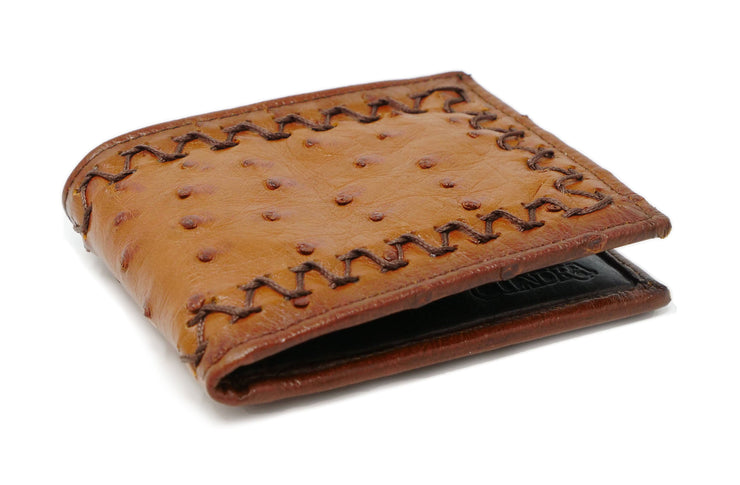 honey ostrich leather wallet