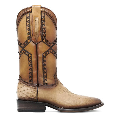 full quill ostrich boots cream
