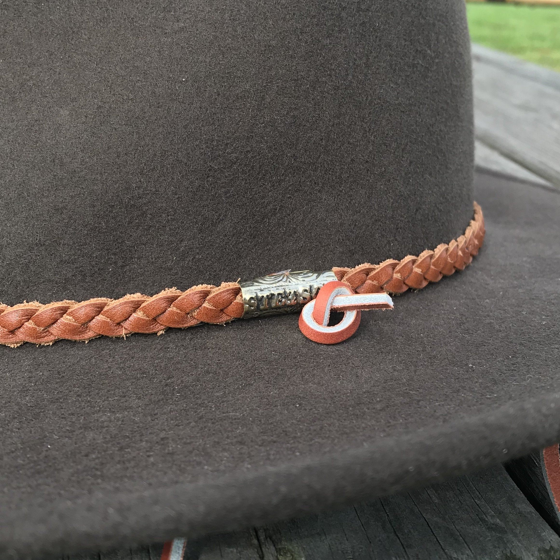 braided leather hatband