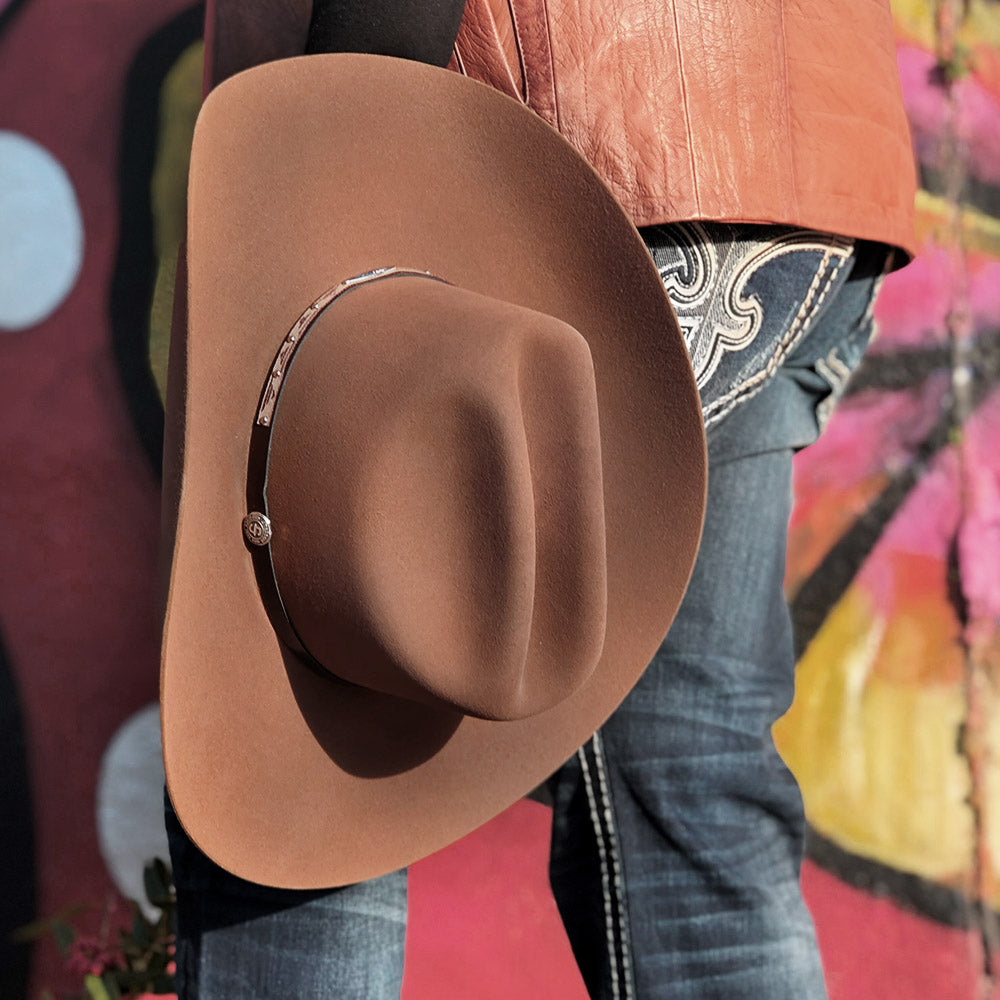 brown stetson cowboy hat