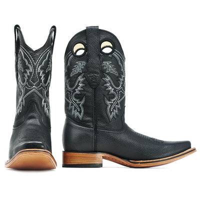 mens square toe black cowboy boots los altos