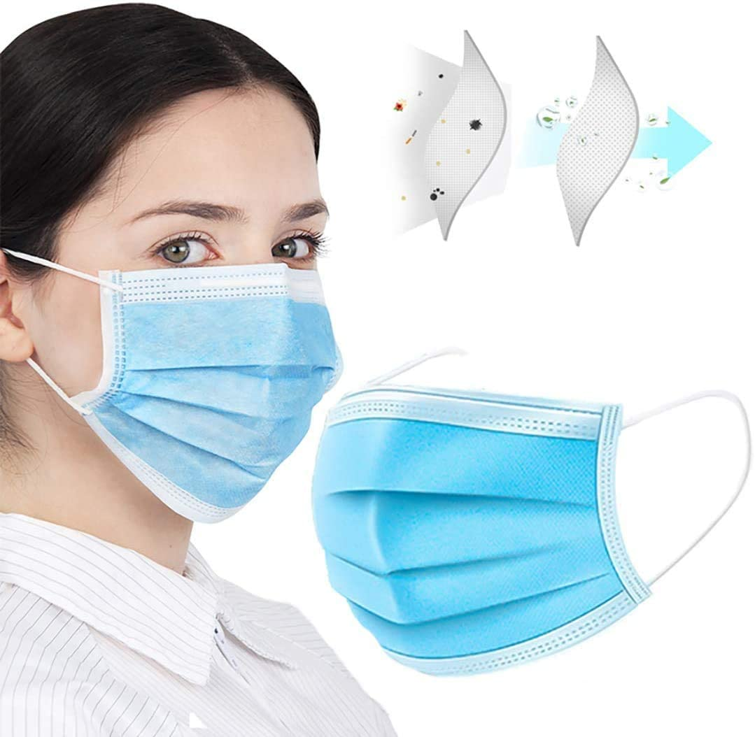 Disposable General Use 3 Ply Face Cover Shield - Bandana Scarf Covering - Facial Protection Filtration Earloop - Pack of 50