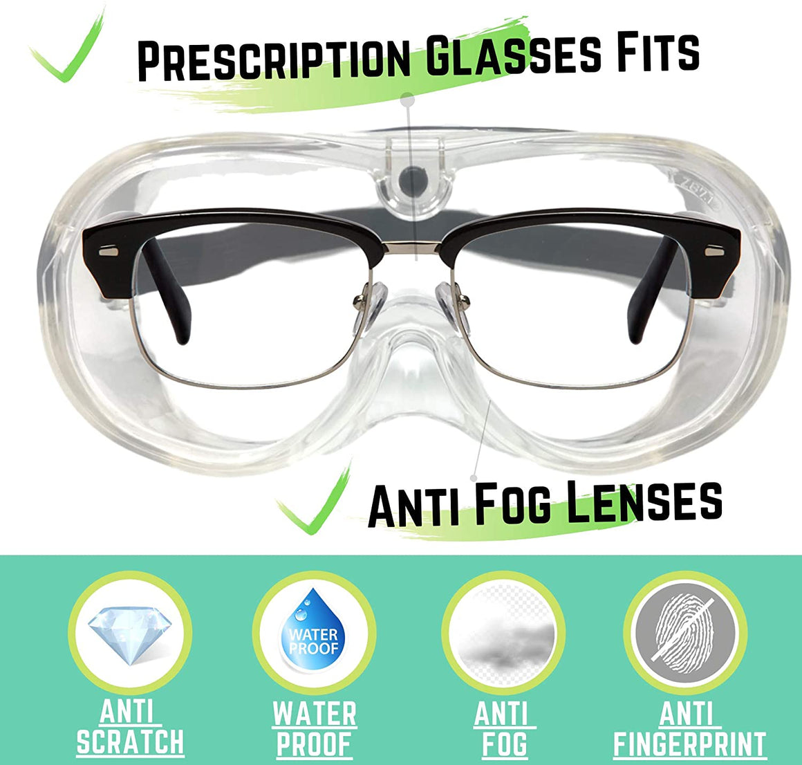 Safety Goggles - Lab Glasses - Medical Face Protection - Clear Lens Anti-Splash - Dust Proof Wearable Eyeglasses