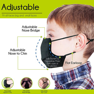 Kids Face Mask - Extra Breathable Cloth Fabric & Machine Washable - PM 2.5 Pollution & Virus Protection - Earloop Dust Proof Covering - Pack of 3