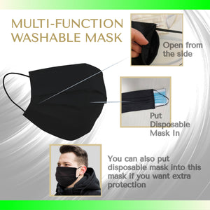 SENTEQ Adult Reusable Face Mask (Double Mask Feature) -  Breathable Cloth Fabric -  PACK of 3