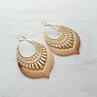 Gold Teardrop Moroccan Medallion Earrings, 14k gold filled ear hooks - art deco / tribal style design - handmade in Michigan