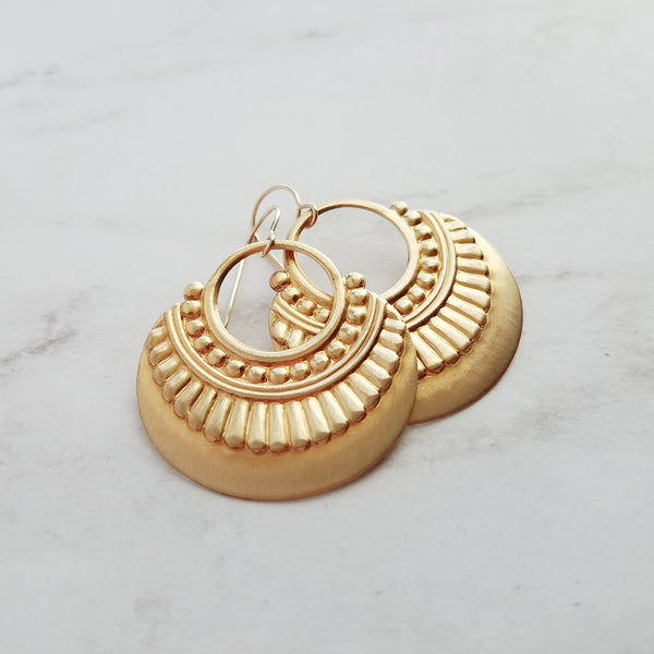 Gold Tribal Earrings - 14K gold fill hooks with round brass embossed / raised art deco design open hoop - handmade jewelry by Constant Baubling - Constant Baubling