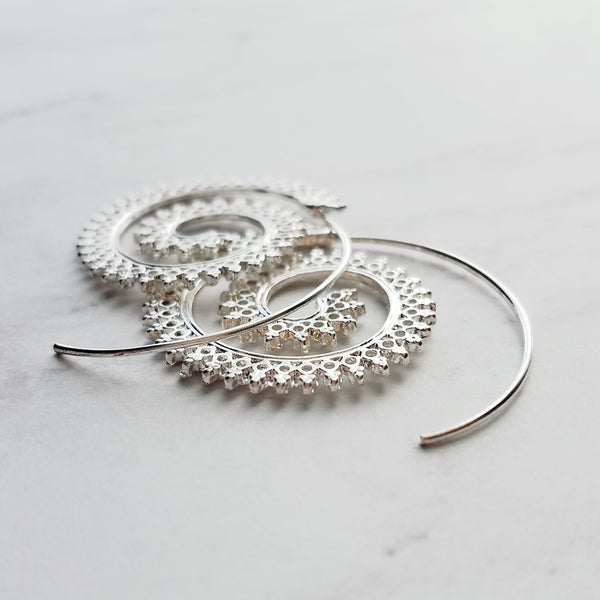 Silver Spiral Earrings - crown edge looped hoops - spiky tribal style round filigree wire circle