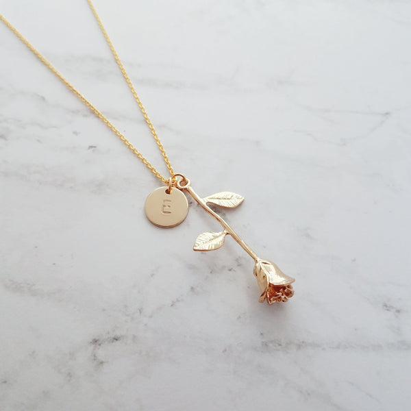 Rose Pendant Necklace - 14k gold plated - initial disk charm w/ letter of choice - 19 inch delicate cable chain available in custom lengths - Beauty and the Beast