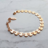 Disk Bracelet - tiny gold round flat coin shape connectors - shiny polished adjustable disc chain - narrow / thin delicate simple stacking style jewelry handmade in Michigan