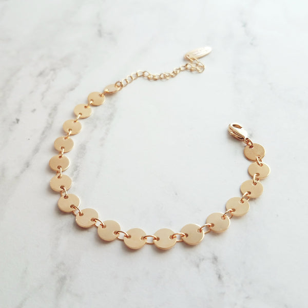 Disk Bracelet - tiny gold round flat coin shape connectors - shiny polished adjustable disc chain - narrow / thin delicate simple stacking style jewelry handmade in Michigan - Constant Baubling