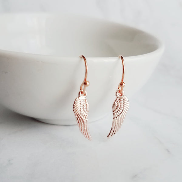 Angel Wing Earrings - tiny rose gold heavenly dangles on small simple ear wire hooks - in special memory of lost loved one