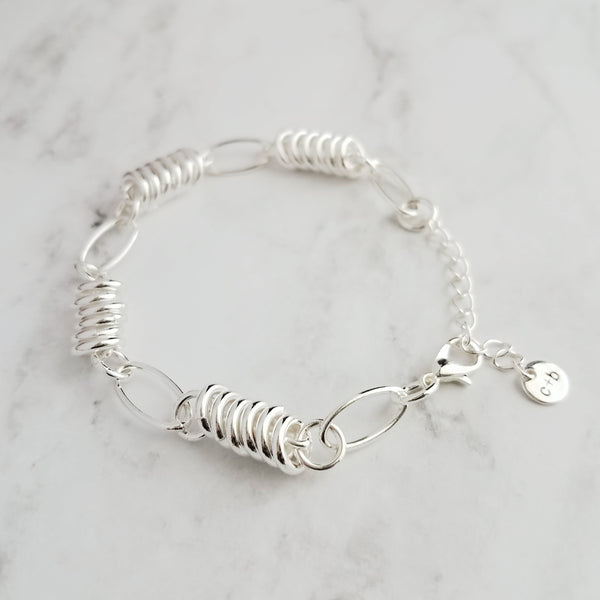 Silver Chain Bracelet - adjustable size with alternating pattern of round loose circles / rings and large oval connectors - unique gift for her