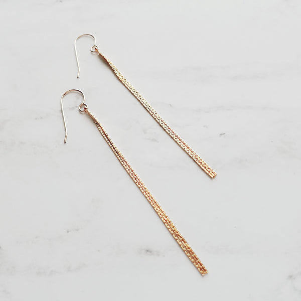 Long Gold Chain Earrings - 14k gold fill wire ear hooks with delicate 3.25 inch snake chain wisps - thin sexy delicate lightweight day to evening jewelry