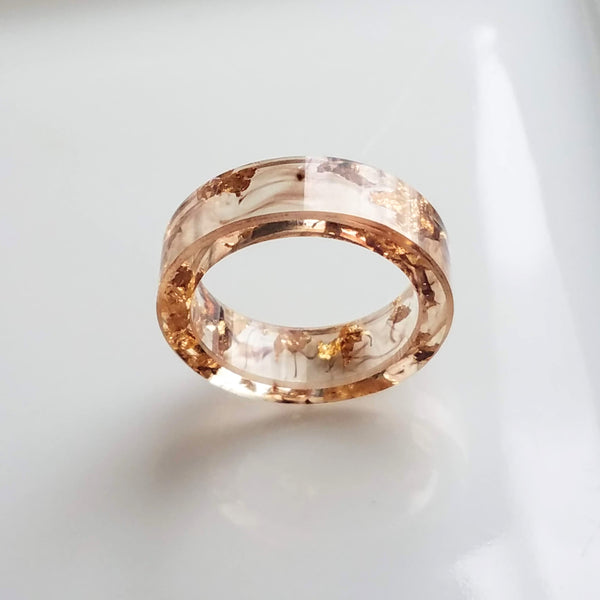 Clear Resin Ring - smoky brown marbling and metallic gold foil flakes embedded, thick band, see through ring, US size 7-1/4