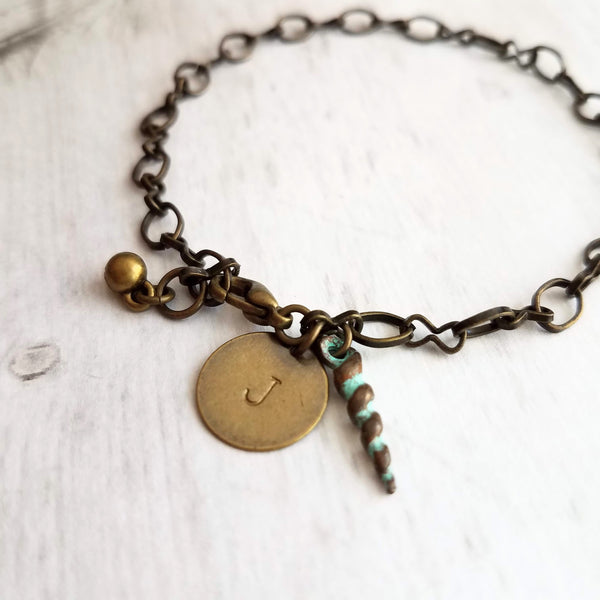 Beach Bracelet w/ spiral auger seashell and personalized letter initial disk, antique bronze brass finish light chain