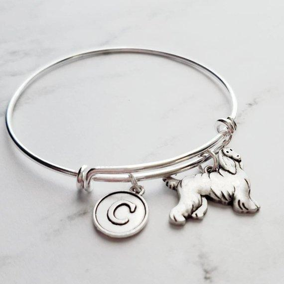 Silver Afghan Bracelet - adjustable bangle double loop pet dog charm - personalized letter initial monogram - Afghan Hound puppy jewelry - breeder / groomer / vet / pet sitter gift - FREE SHIPPING