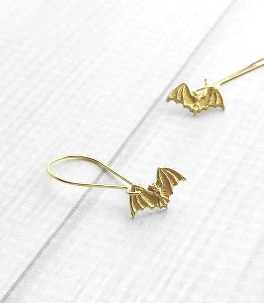 Bat Earrings - tiny gold Halloween charm on locking kidney ear hook - trick or treat fall autumn accessory - small petite minimalist little