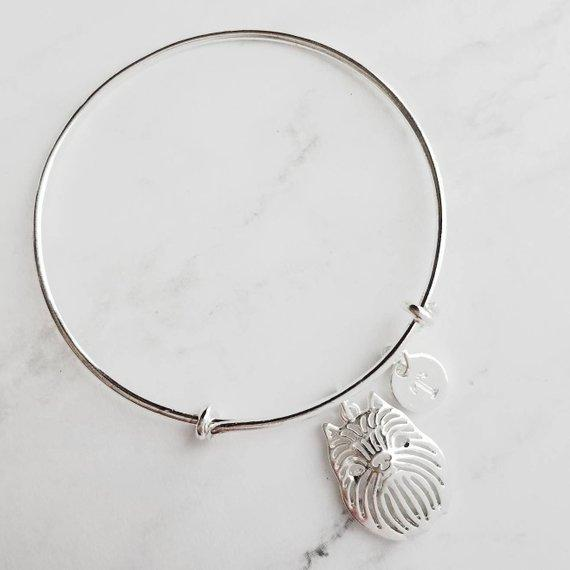 Brussels Griffon dog on double loop adjustable wire bangle bracelet - silver personalized initial letter and griff - monkey dog breeder / pet sitter / rescue / vet / groomer gift - Ewok / Gremlin dog