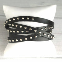 Black Leather Stud Punk Wrap Bracelet - small silver rivet filled narrow strip vegan faux leather design - multi wrap cut to size - one size fits all