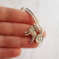 Border Collie Bangle Bracelet - adjustable silver double loop pet dog charm - personalized letter initial monogram - herder breed jewelry - breeder / groomer / vet / pet sitter gift - FREE SHIPPING