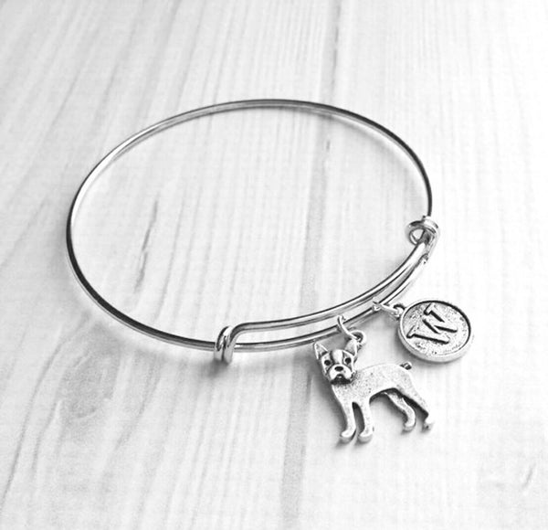 Boston Terrier Bracelet- adjustable bangle style silver bracelet - double loop wire with dog & initial / letter charm - American Gentleman pet lover / dog mom / groomer / breeder gift