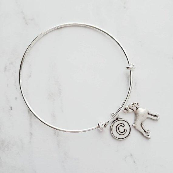 Boxer Dog Bracelet - silver adjustable bangle double loop pet charm - personalized letter initial monogram - handmade puppy jewelry - breeder / groomer / vet / pet sitter gift - FREE SHIPPING - Constant Baubling