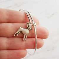 Boxer Dog Bracelet - silver adjustable bangle double loop pet charm - personalized letter initial monogram - handmade puppy jewelry - breeder / groomer / vet / pet sitter gift - FREE SHIPPING