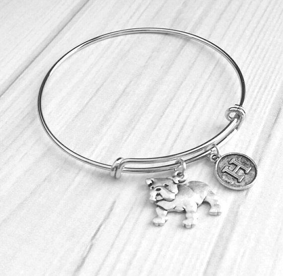 English Bulldog Bracelet - adjustable silver bangle double loop pet dog charm - personalized letter - flat face puppy British mascot snort - breeder / groomer / vert / pet sitter gift