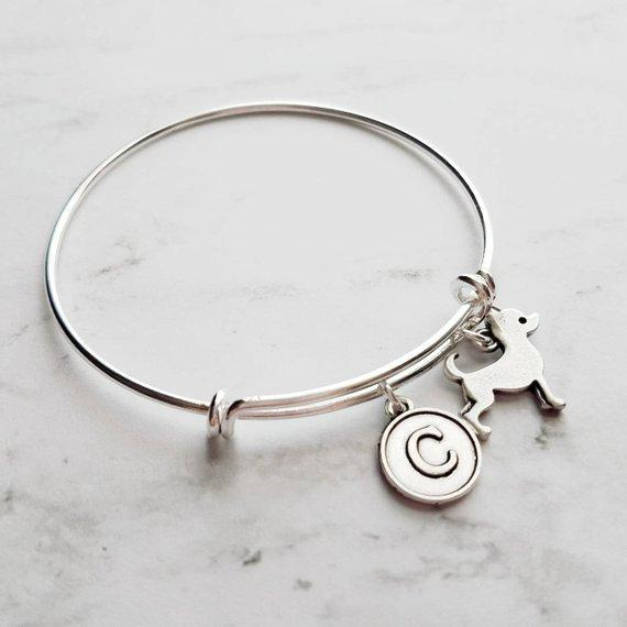 Silver Chihuahua Charm Bracelet - adjustable bangle double loop pet dog charm - personalized letter initial monogram - Mexican teacup puppy - breeder / groomer / vet / pet sitter gift - FREE SHIPPING - Constant Baubling